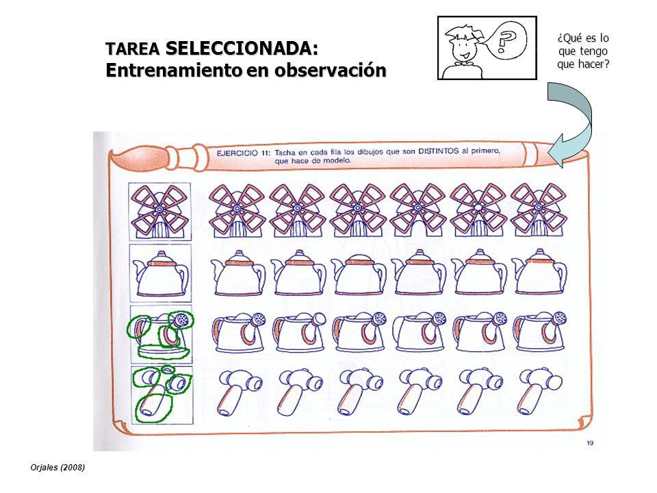 TAREA SELECCIONADA: Entrenamiento en observación ¿Qué es lo que tengo que hacer? Orjales (2008)