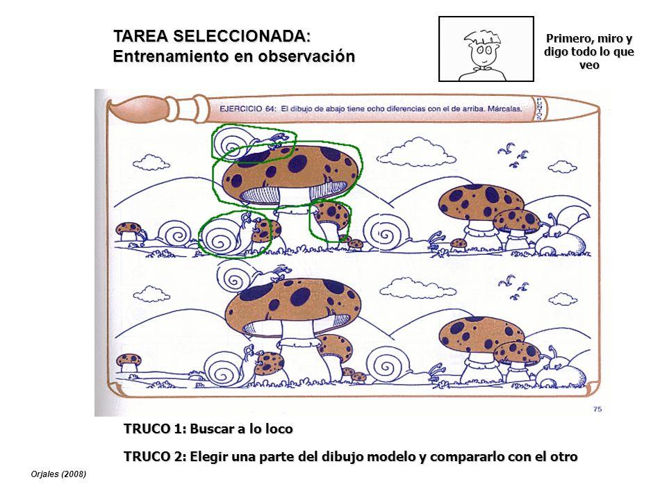 TRUCO 1: Buscar a lo loco TAREA SELECCIONADA: Entrenamiento en observación TRUCO 2: Elegir una parte del dibujo modelo y compararlo con el otro Primer