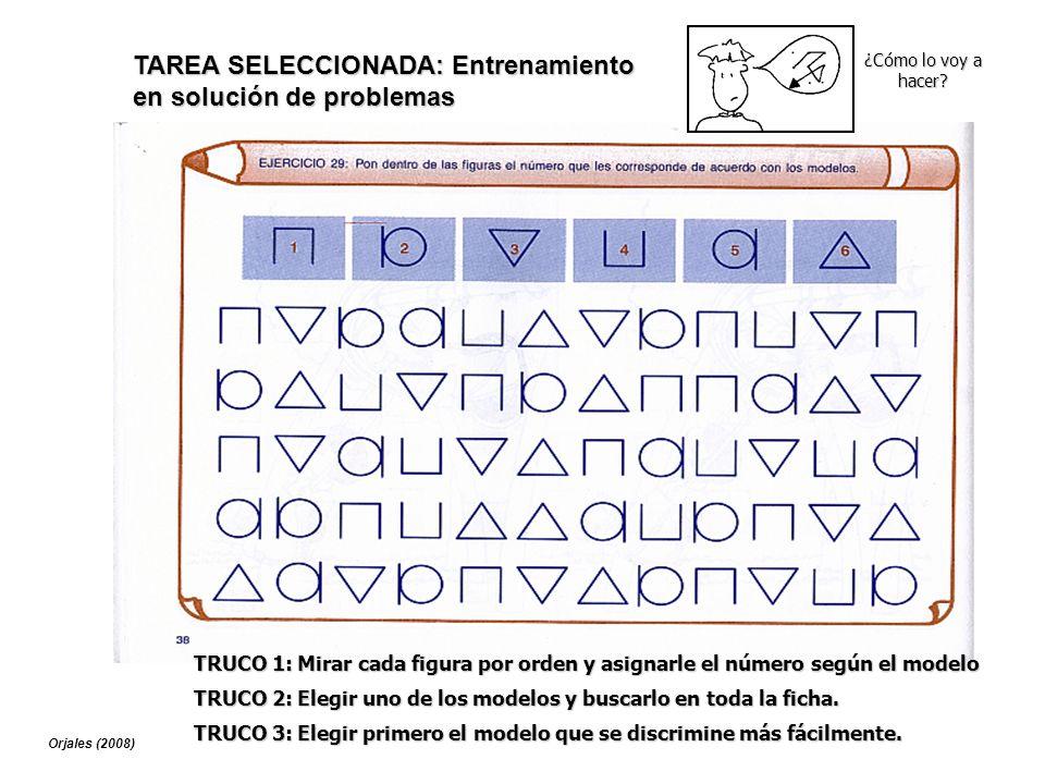 TRUCO 1: Mirar cada figura por orden y asignarle el número según el modelo TAREA SELECCIONADA: Entrenamiento en solución de problemas ¿Cómo lo voy a h