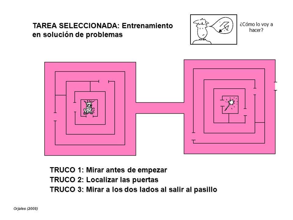 ¿Cómo lo voy a hacer? TAREA SELECCIONADA: Entrenamiento en solución de problemas TRUCO 1: Mirar antes de empezar TRUCO 2: Localizar las puertas TRUCO