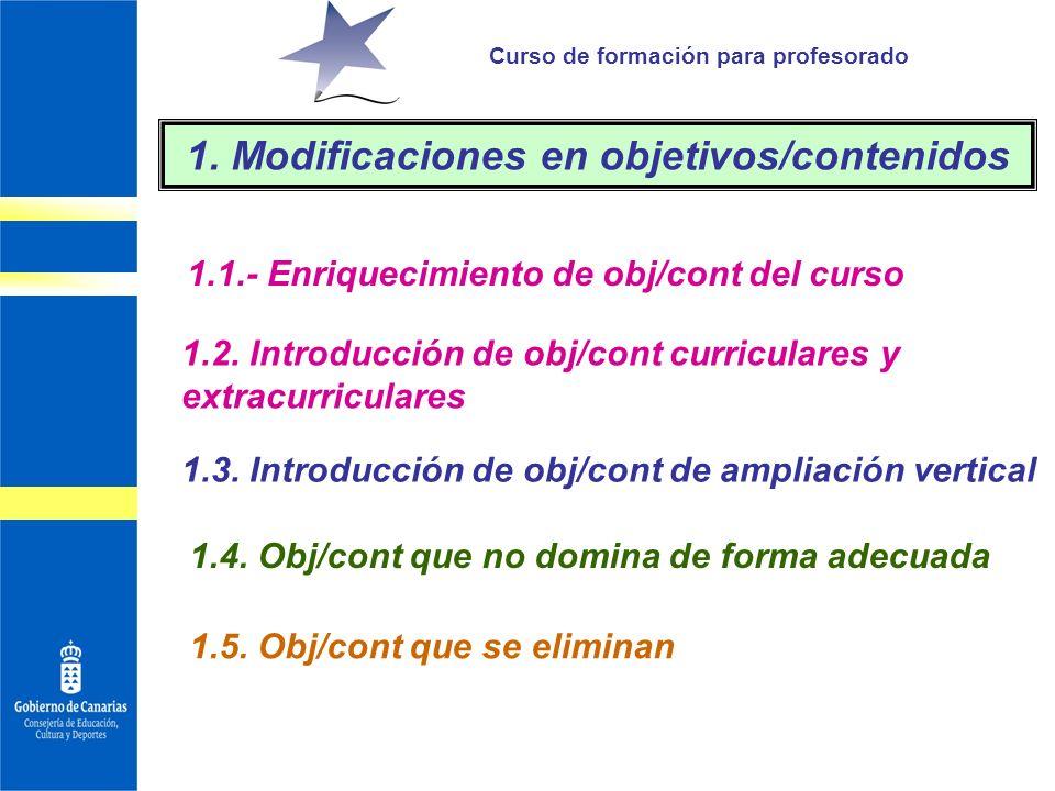 Curso de formación para profesorado 1.1.- Enriquecimiento de obj/cont del curso 1. Modificaciones en objetivos/contenidos 1.2. Introducción de obj/con