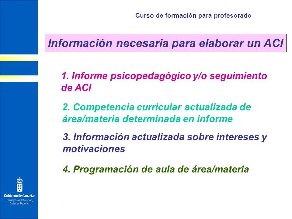 Curso de formación para profesorado 1. Informe psicopedagógico y/o seguimiento de ACI Información necesaria para elaborar un ACI 2. Competencia curric