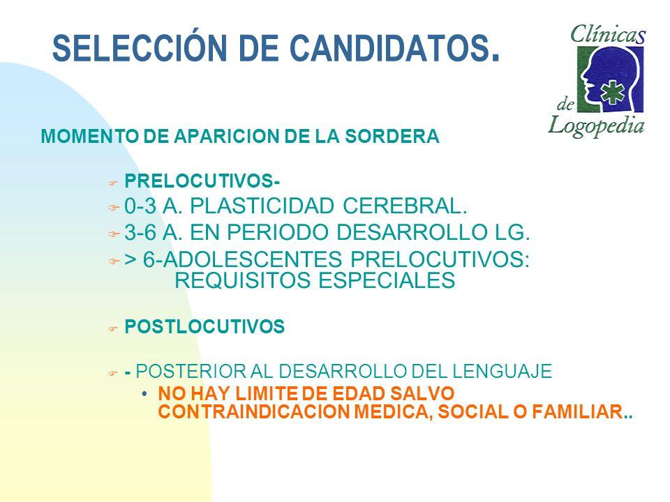 SELECCIÓN DE CANDIDATOS. MOMENTO DE APARICION DE LA SORDERA F PRELOCUTIVOS- F 0-3 A. PLASTICIDAD CEREBRAL. F 3-6 A. EN PERIODO DESARROLLO LG. F > 6-AD