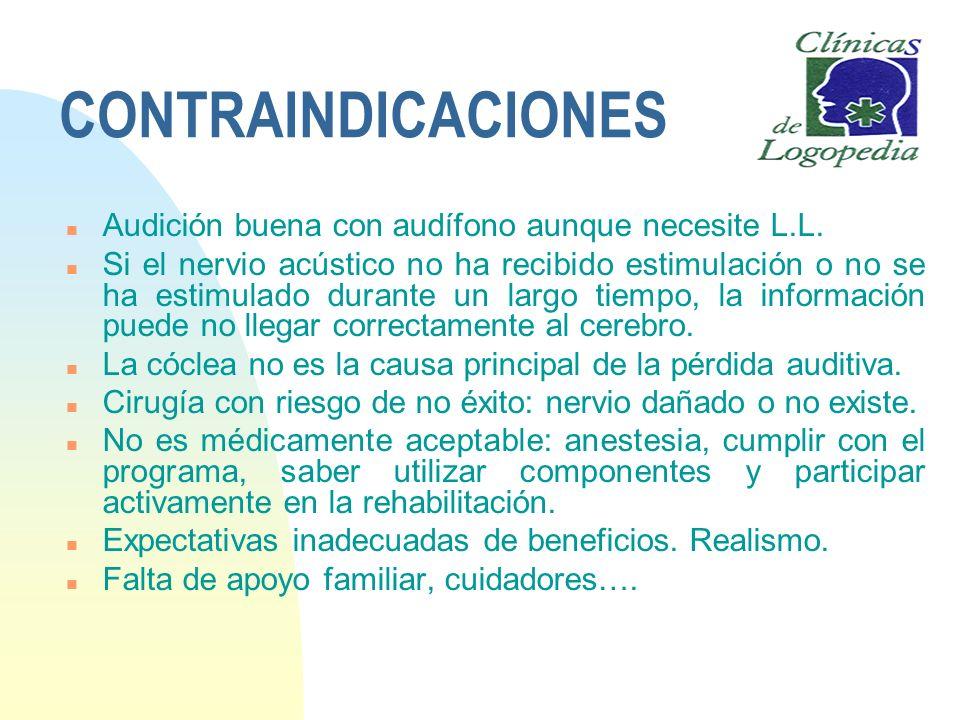 CONTRAINDICACIONES n Audición buena con audífono aunque necesite L.L. n Si el nervio acústico no ha recibido estimulación o no se ha estimulado durant