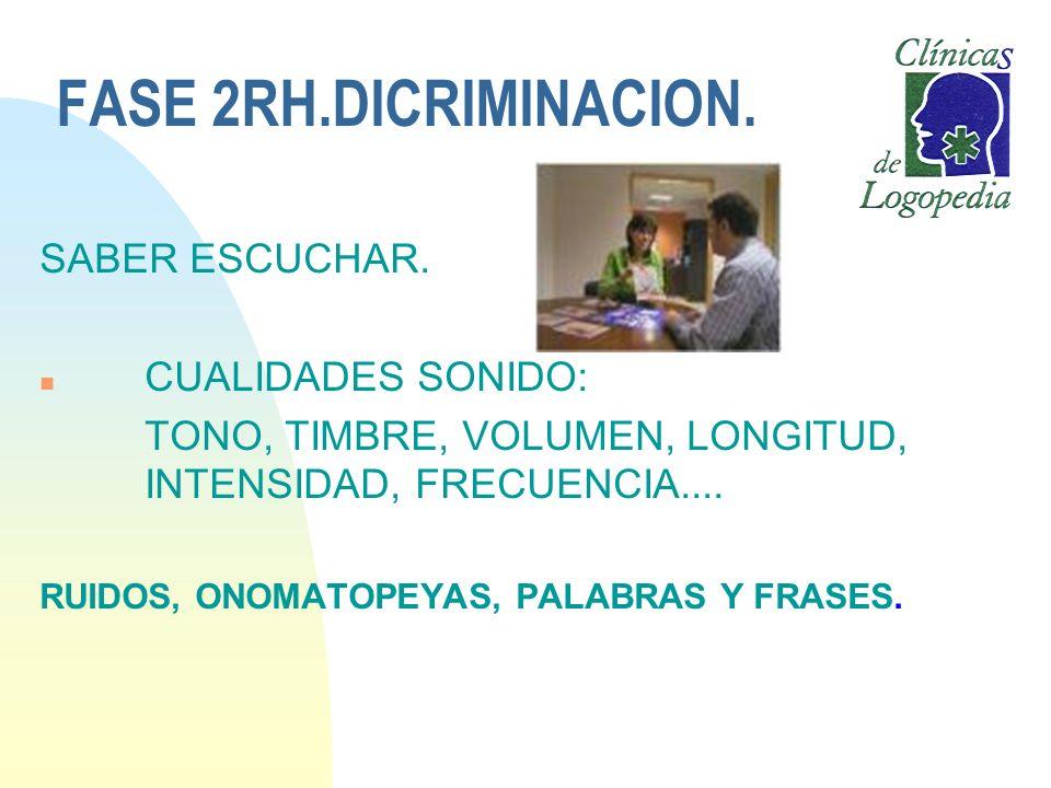 FASE 2RH.DICRIMINACION. SABER ESCUCHAR. n CUALIDADES SONIDO: TONO, TIMBRE, VOLUMEN, LONGITUD, INTENSIDAD, FRECUENCIA.... RUIDOS, ONOMATOPEYAS, PALABRA