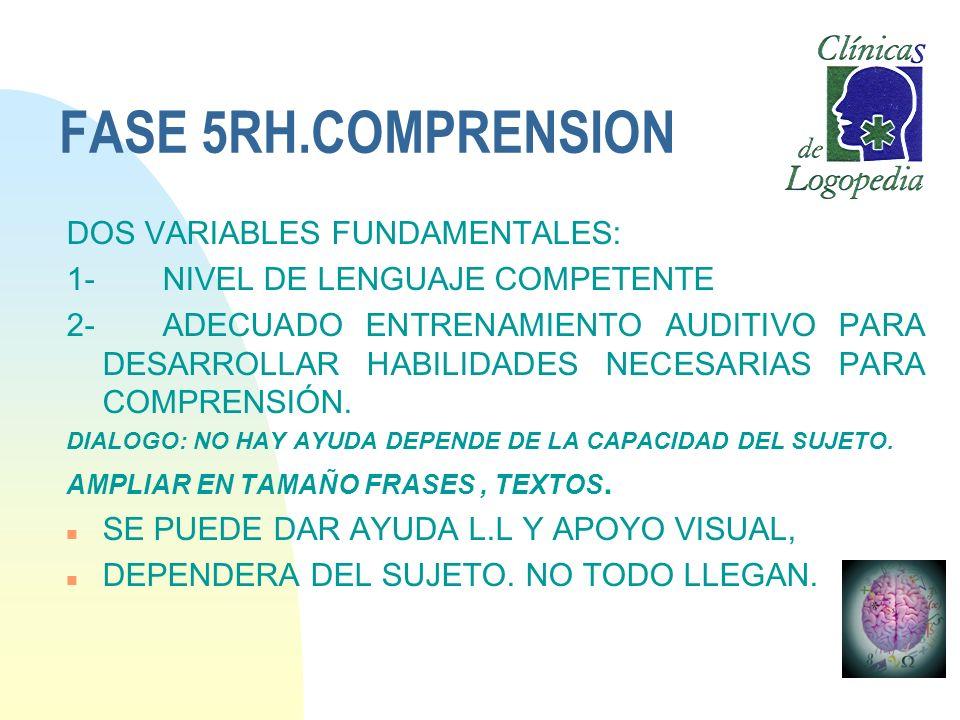 FASE 5RH.COMPRENSION DOS VARIABLES FUNDAMENTALES: 1- NIVEL DE LENGUAJE COMPETENTE 2-ADECUADO ENTRENAMIENTO AUDITIVO PARA DESARROLLAR HABILIDADES NECES