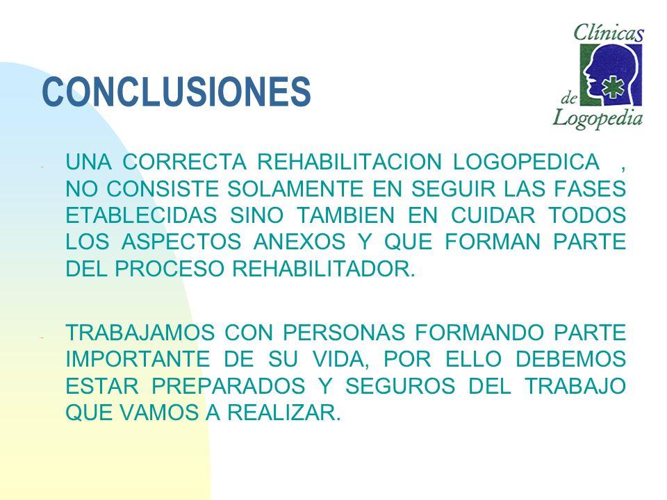 CONCLUSIONES - UNA CORRECTA REHABILITACION LOGOPEDICA, NO CONSISTE SOLAMENTE EN SEGUIR LAS FASES ETABLECIDAS SINO TAMBIEN EN CUIDAR TODOS LOS ASPECTOS