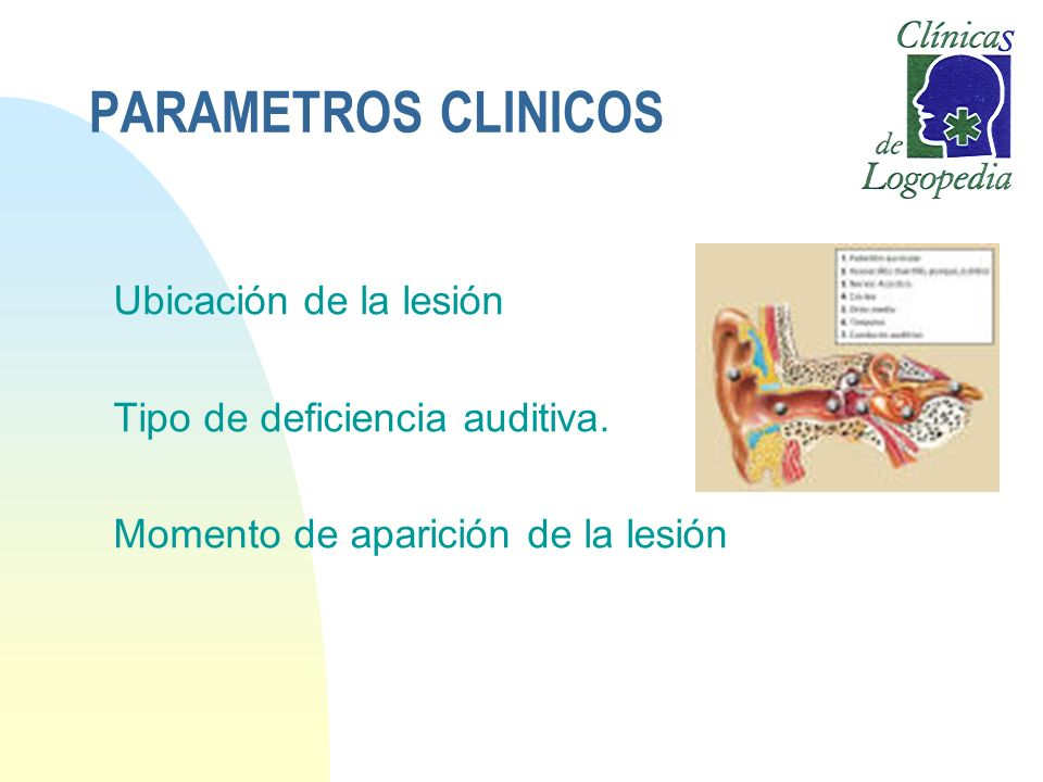PARAMETROS CLINICOS Ubicación de la lesión Tipo de deficiencia auditiva. Momento de aparición de la lesión