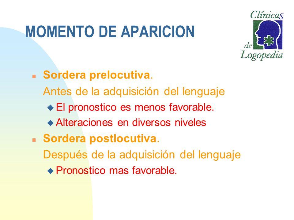 MOMENTO DE APARICION n Sordera prelocutiva. Antes de la adquisición del lenguaje u El pronostico es menos favorable. u Alteraciones en diversos nivele