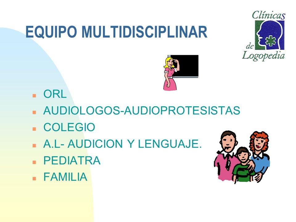 EQUIPO MULTIDISCIPLINAR n ORL n AUDIOLOGOS-AUDIOPROTESISTAS n COLEGIO n A.L- AUDICION Y LENGUAJE. n PEDIATRA n FAMILIA