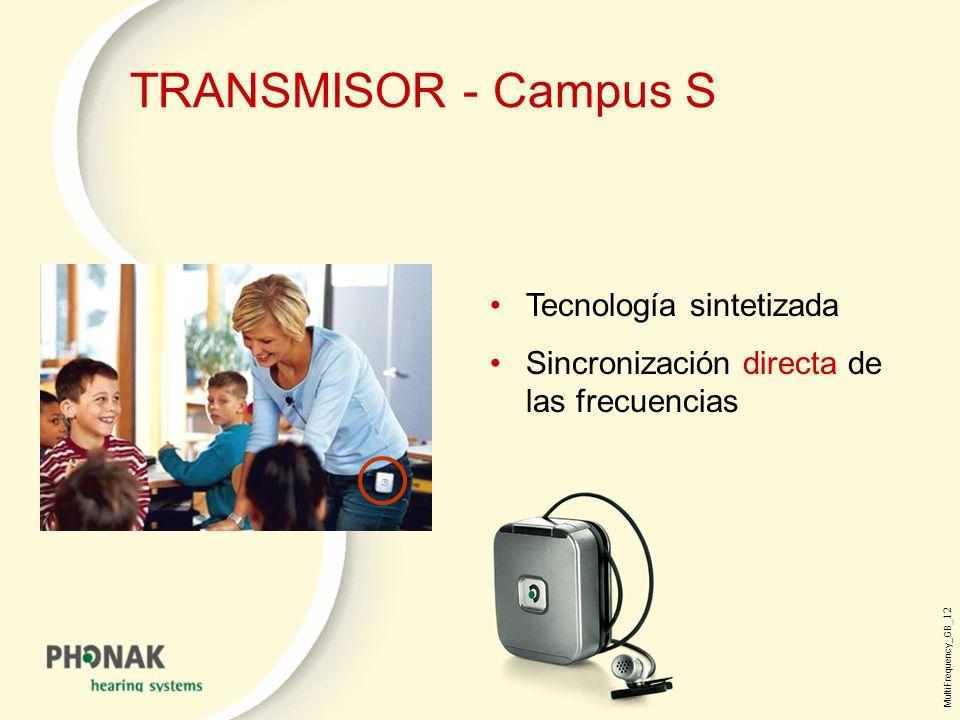 MultiFrequency_GB _12 TRANSMISOR - Campus S Tecnología sintetizada Sincronización directa de las frecuencias
