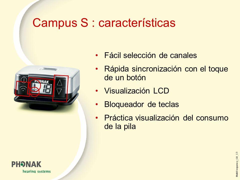 MultiFrequency_GB _13 Campus S : características Fácil selección de canales Rápida sincronización con el toque de un botón Visualización LCD Bloqueador de teclas Práctica visualización del consumo de la pila