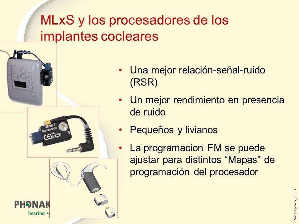 MultiFrequency_GB _17 MLxS y los procesadores de los implantes cocleares Una mejor relación-señal-ruido (RSR) Un mejor rendimiento en presencia de ruido Pequeños y livianos La programacion FM se puede ajustar para distintos Mapas de programación del procesador