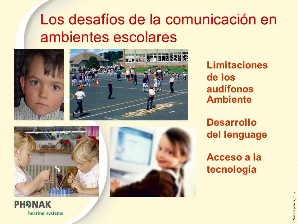 MultiFrequency_GB _6 Los desafíos de la comunicación en ambientes escolares Ambiente Acceso a la tecnología Desarrollo del lenguage Limitaciones de los audífonos