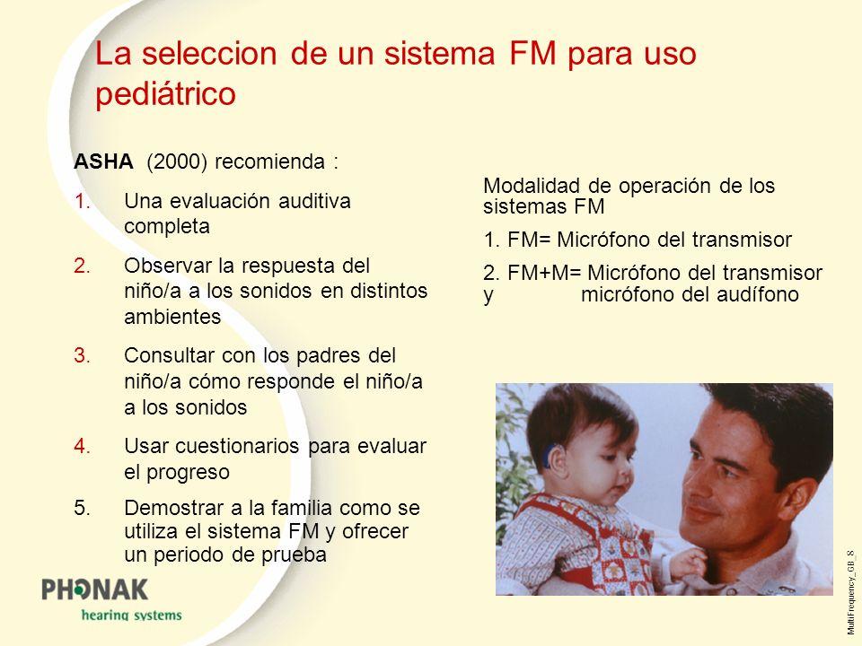 MultiFrequency_GB _8 La seleccion de un sistema FM para uso pediátrico ASHA (2000) recomienda : 1.Una evaluación auditiva completa 2.Observar la respuesta del niño/a a los sonidos en distintos ambientes 3.Consultar con los padres del niño/a cómo responde el niño/a a los sonidos 4.Usar cuestionarios para evaluar el progreso 5.