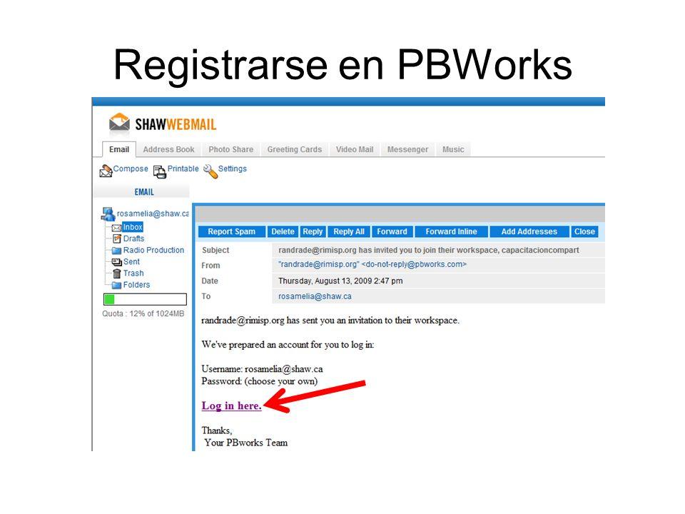 Registrarse en PBWorks