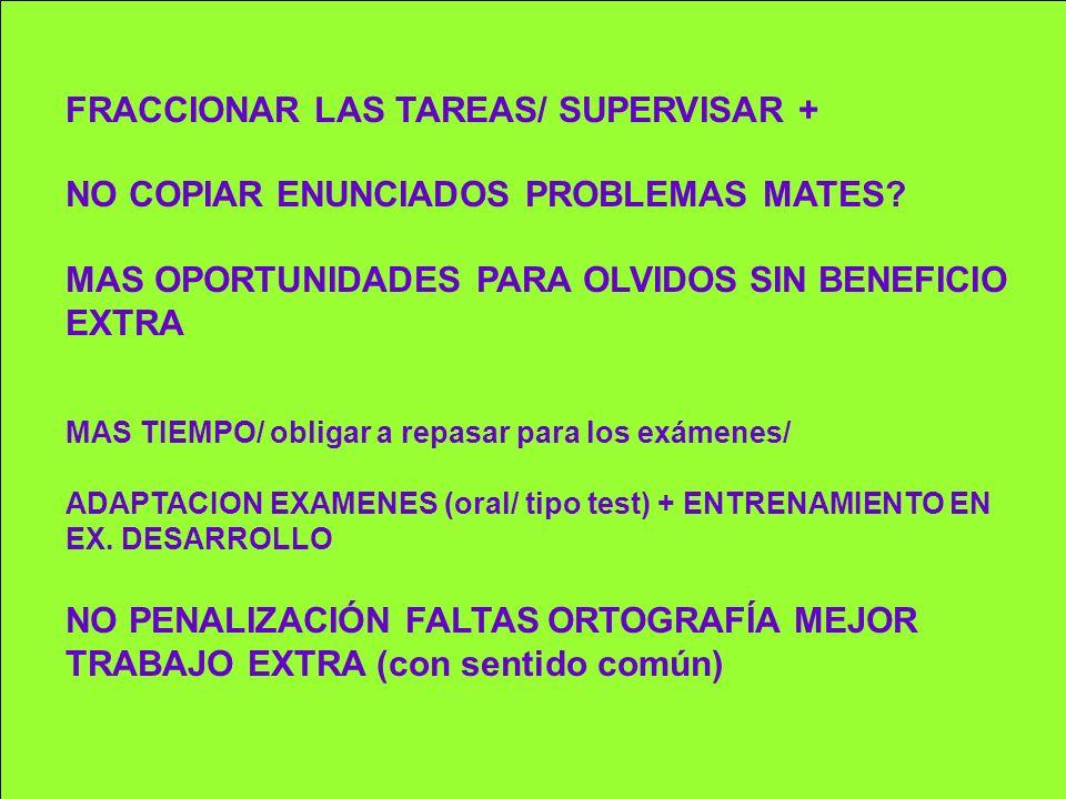 FRACCIONAR LAS TAREAS/ SUPERVISAR + NO COPIAR ENUNCIADOS PROBLEMAS MATES? MAS OPORTUNIDADES PARA OLVIDOS SIN BENEFICIO EXTRA MAS TIEMPO/ obligar a rep