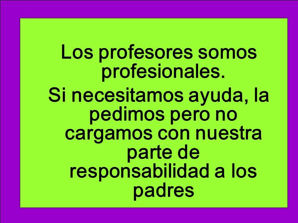 Los profesores somos profesionales. Si necesitamos ayuda, la pedimos pero no cargamos con nuestra parte de responsabilidad a los padres