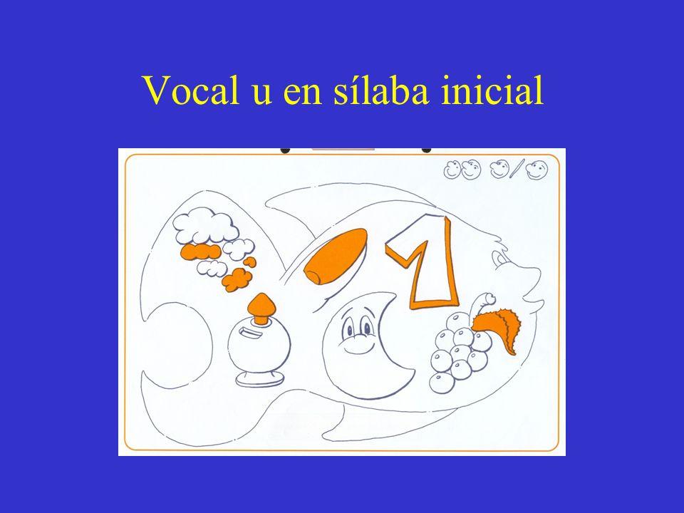 Vocal u en sílaba inicial
