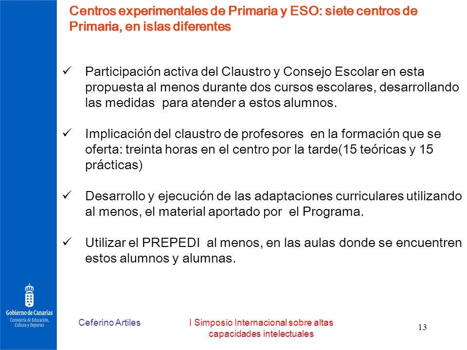 Ceferino ArtilesI Simposio Internacional sobre altas capacidades intelectuales 13 Centros experimentales de Primaria y ESO: siete centros de Primaria,
