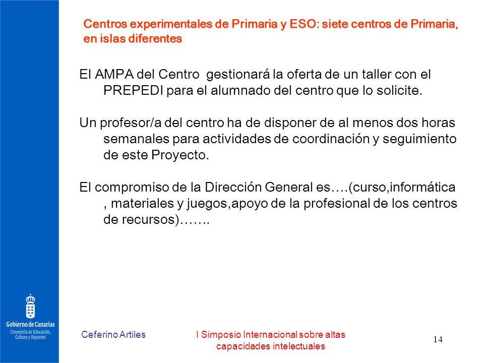 Ceferino ArtilesI Simposio Internacional sobre altas capacidades intelectuales 14 El AMPA del Centro gestionará la oferta de un taller con el PREPEDI