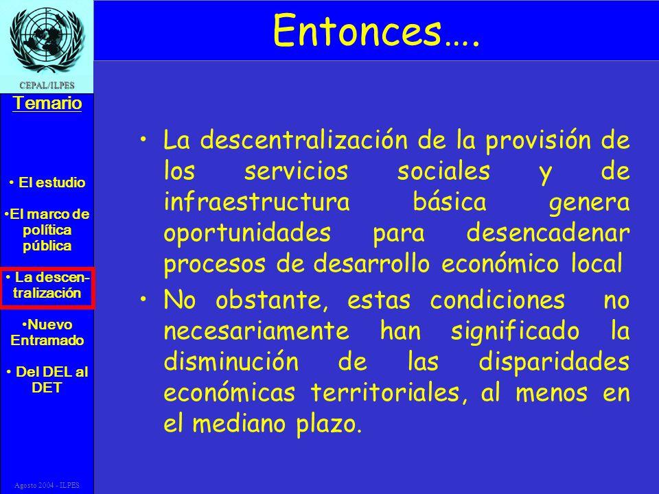 El estudio El marco de política pública La descen- tralización Nuevo Entramado Del DEL al DET Temario CEPAL/ILPES Agosto 2004 - ILPES Entonces….