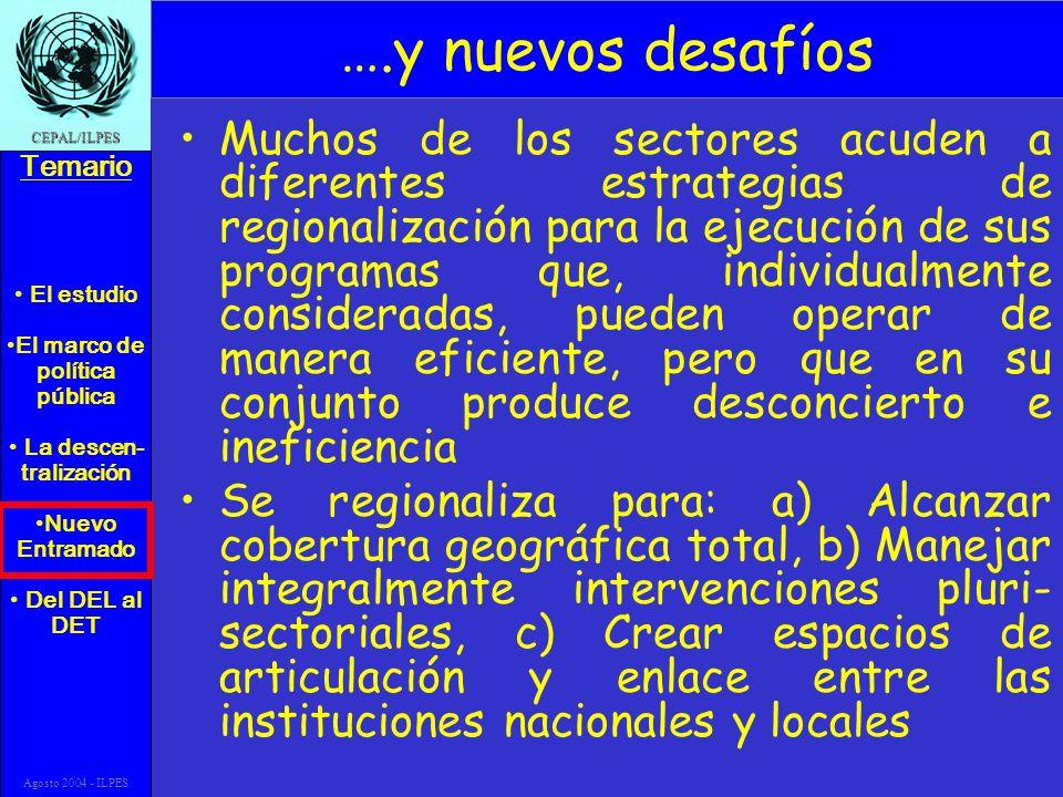 El estudio El marco de política pública La descen- tralización Nuevo Entramado Del DEL al DET Temario CEPAL/ILPES Agosto 2004 - ILPES ….y nuevos desaf