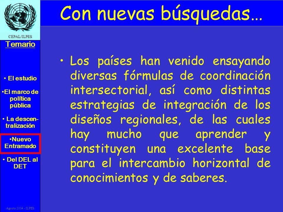 El estudio El marco de política pública La descen- tralización Nuevo Entramado Del DEL al DET Temario CEPAL/ILPES Agosto 2004 - ILPES Con nuevas búsqu