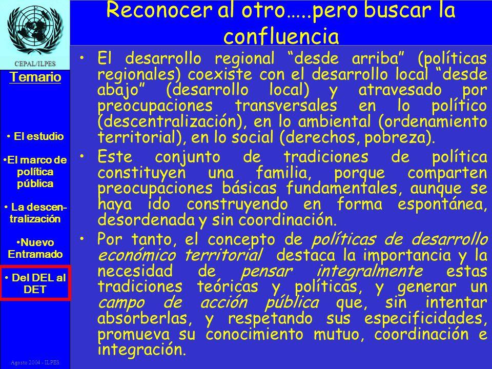 El estudio El marco de política pública La descen- tralización Nuevo Entramado Del DEL al DET Temario CEPAL/ILPES Agosto 2004 - ILPES Reconocer al otro…..pero buscar la confluencia El desarrollo regional desde arriba (políticas regionales) coexiste con el desarrollo local desde abajo (desarrollo local) y atravesado por preocupaciones transversales en lo político (descentralización), en lo ambiental (ordenamiento territorial), en lo social (derechos, pobreza).