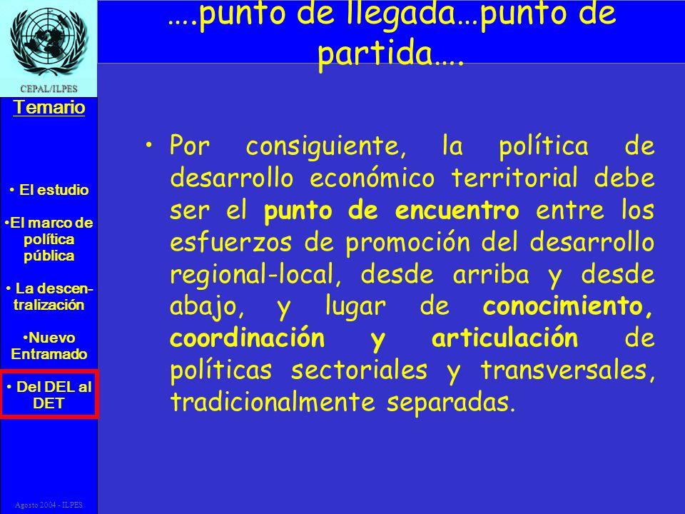 El estudio El marco de política pública La descen- tralización Nuevo Entramado Del DEL al DET Temario CEPAL/ILPES Agosto 2004 - ILPES ….punto de llega
