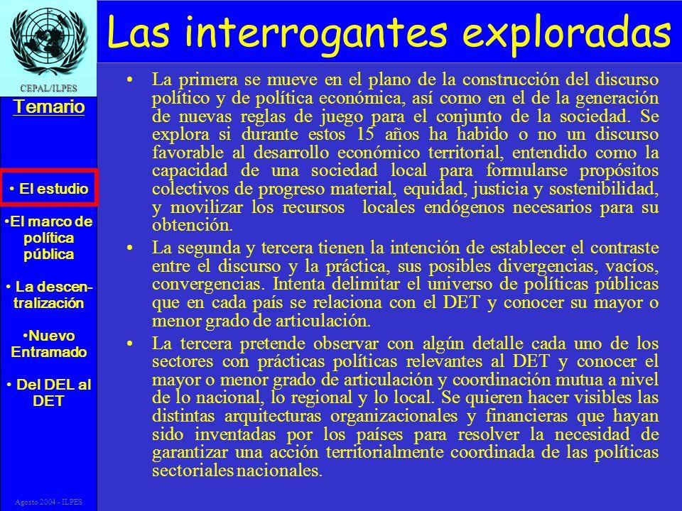 El estudio El marco de política pública La descen- tralización Nuevo Entramado Del DEL al DET Temario CEPAL/ILPES Agosto 2004 - ILPES Las interrogante