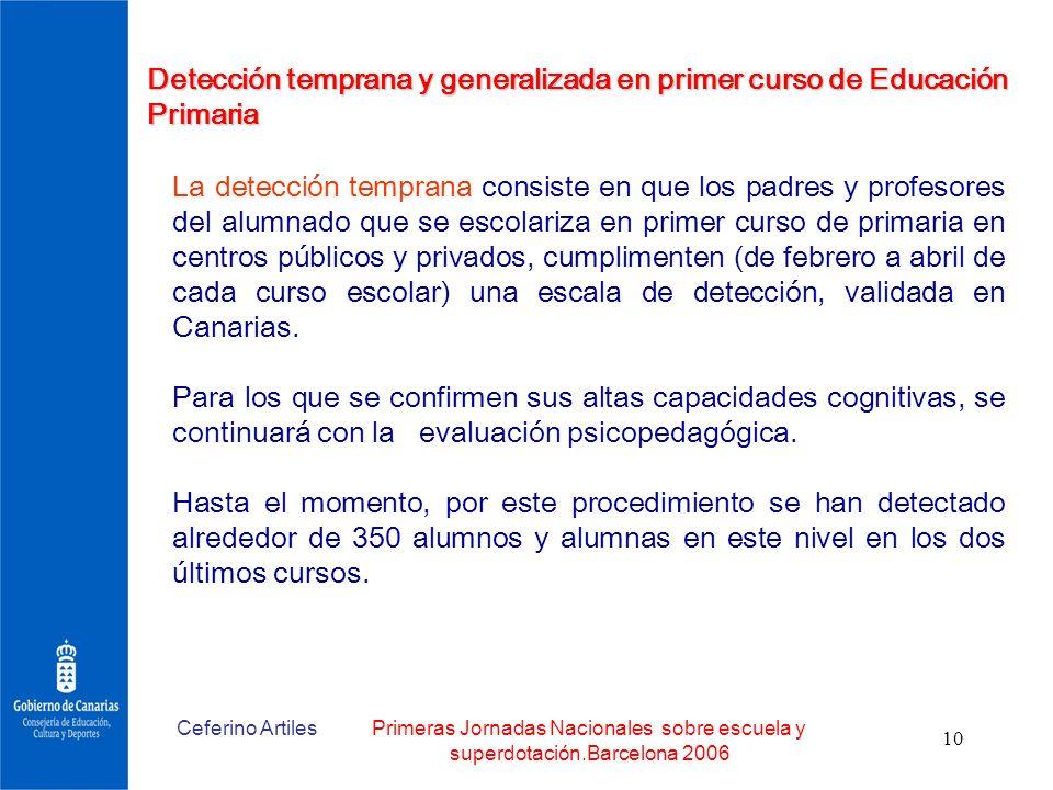 Ceferino ArtilesPrimeras Jornadas Nacionales sobre escuela y superdotación.Barcelona 2006 10 Detección temprana y generalizada en primer curso de Educ