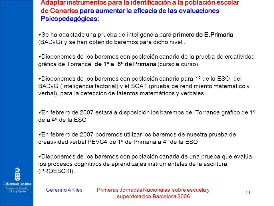 Ceferino ArtilesPrimeras Jornadas Nacionales sobre escuela y superdotación.Barcelona 2006 11 Adaptar instrumentos para la identificación a la població