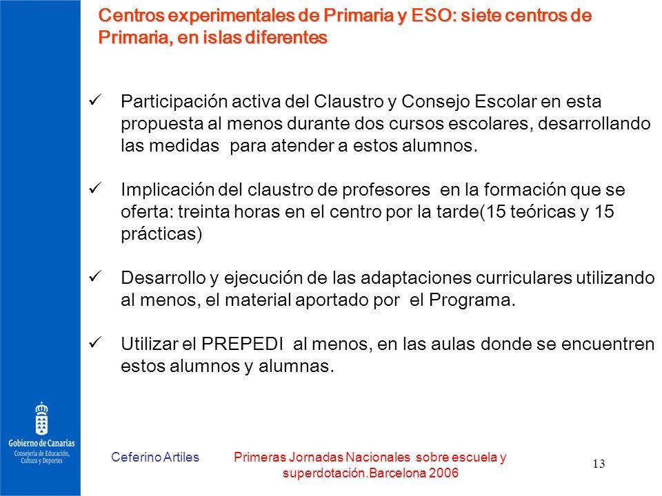 Ceferino ArtilesPrimeras Jornadas Nacionales sobre escuela y superdotación.Barcelona 2006 13 Centros experimentales de Primaria y ESO: siete centros d