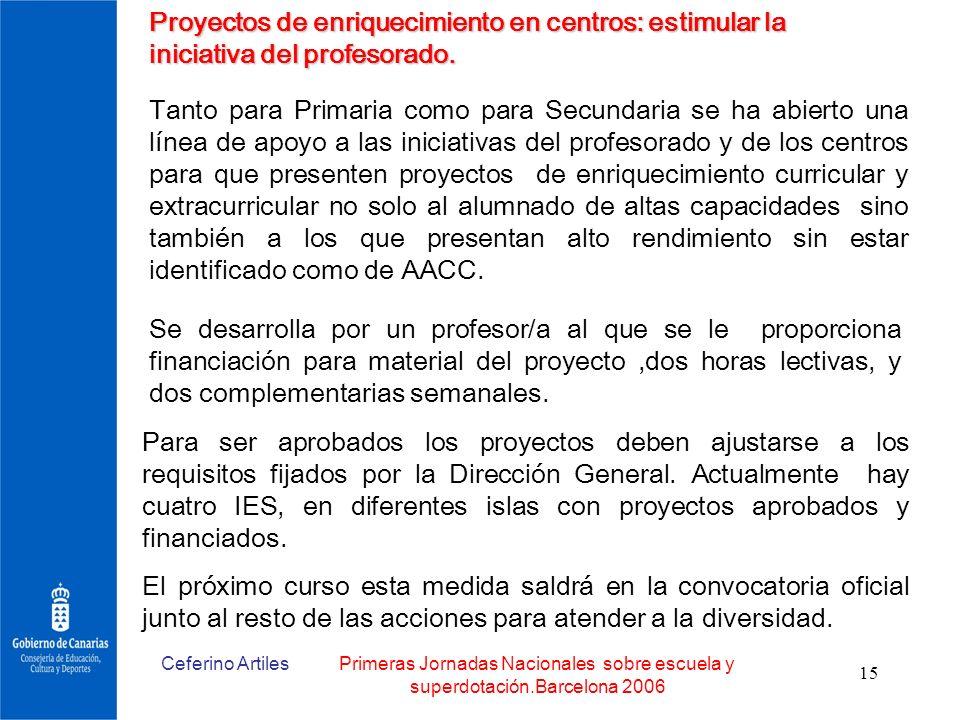 Ceferino ArtilesPrimeras Jornadas Nacionales sobre escuela y superdotación.Barcelona 2006 15 Proyectos de enriquecimiento en centros: estimular la ini