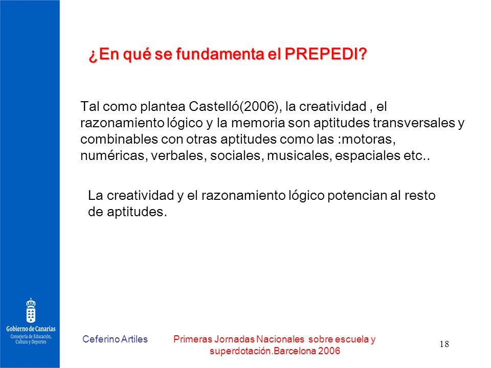 Ceferino ArtilesPrimeras Jornadas Nacionales sobre escuela y superdotación.Barcelona 2006 18 ¿En qué se fundamenta el PREPEDI? Tal como plantea Castel