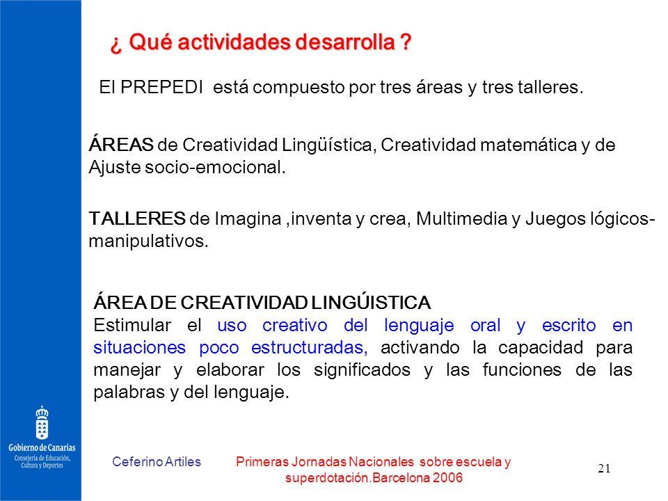 Ceferino ArtilesPrimeras Jornadas Nacionales sobre escuela y superdotación.Barcelona 2006 21 ¿ Qué actividades desarrolla ? El PREPEDI está compuesto
