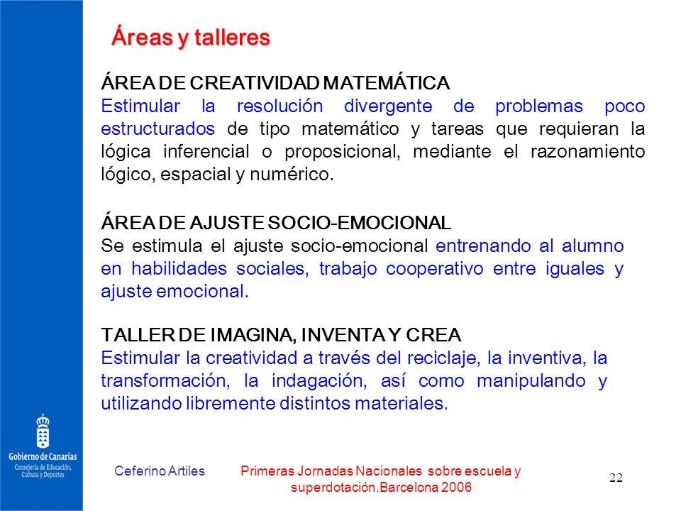 Ceferino ArtilesPrimeras Jornadas Nacionales sobre escuela y superdotación.Barcelona 2006 22 Áreas y talleres ÁREA DE CREATIVIDAD MATEMÁTICA Estimular