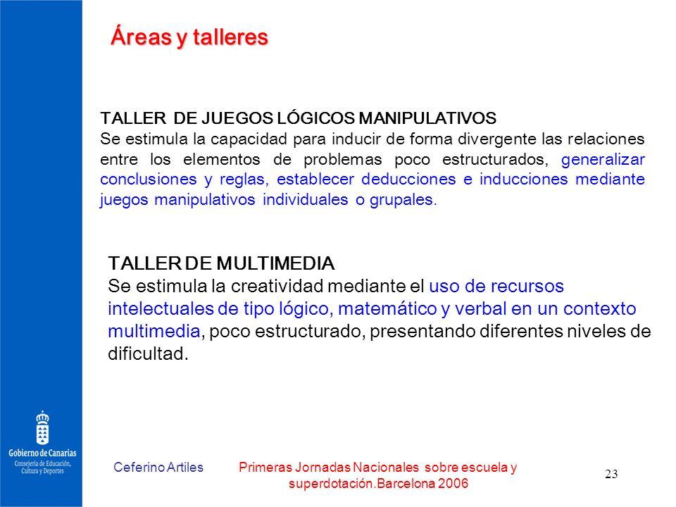 Ceferino ArtilesPrimeras Jornadas Nacionales sobre escuela y superdotación.Barcelona 2006 23 Áreas y talleres TALLER DE MULTIMEDIA Se estimula la crea