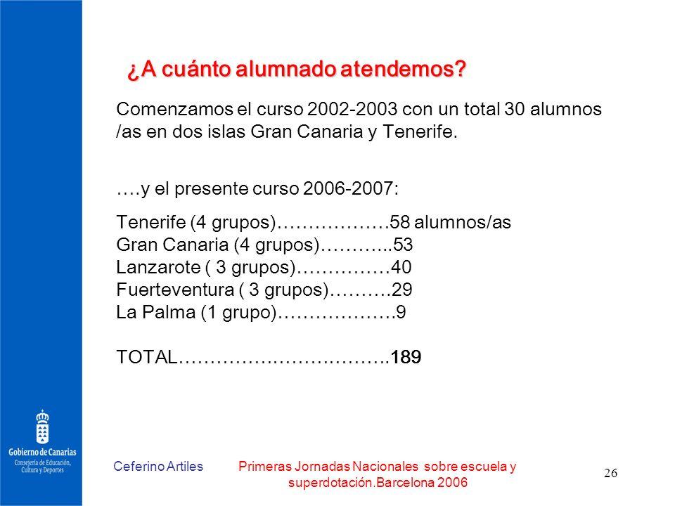 Ceferino ArtilesPrimeras Jornadas Nacionales sobre escuela y superdotación.Barcelona 2006 26 Comenzamos el curso 2002-2003 con un total 30 alumnos /as
