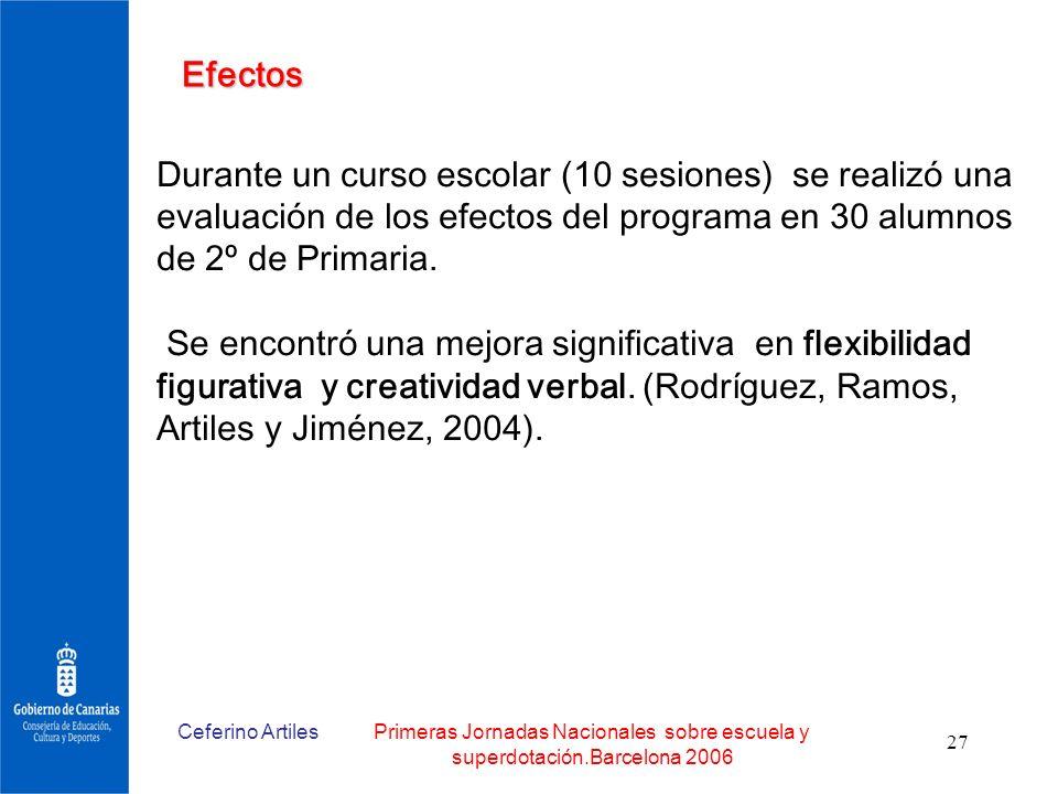 Ceferino ArtilesPrimeras Jornadas Nacionales sobre escuela y superdotación.Barcelona 2006 27 Efectos Durante un curso escolar (10 sesiones) se realizó
