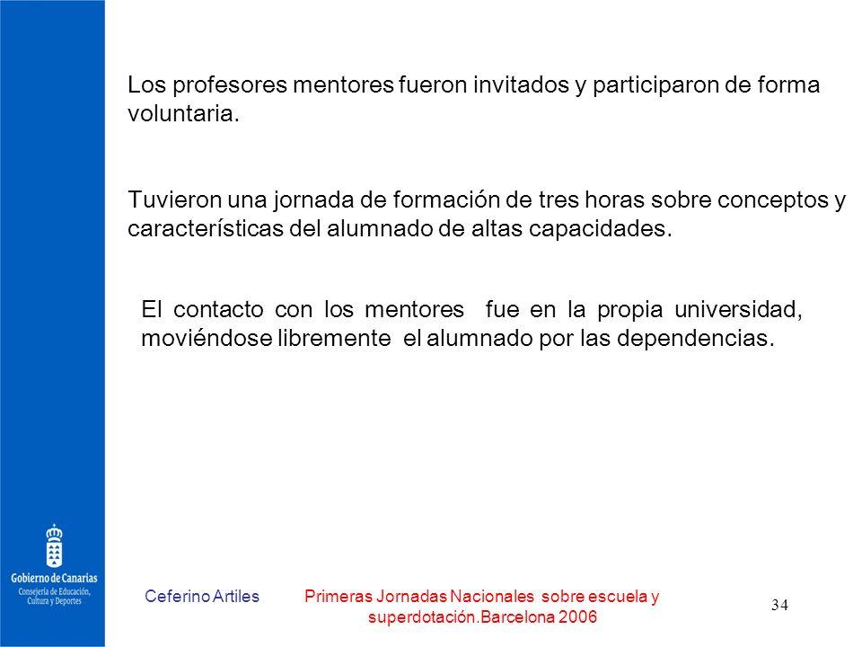 Ceferino ArtilesPrimeras Jornadas Nacionales sobre escuela y superdotación.Barcelona 2006 34 Los profesores mentores fueron invitados y participaron d