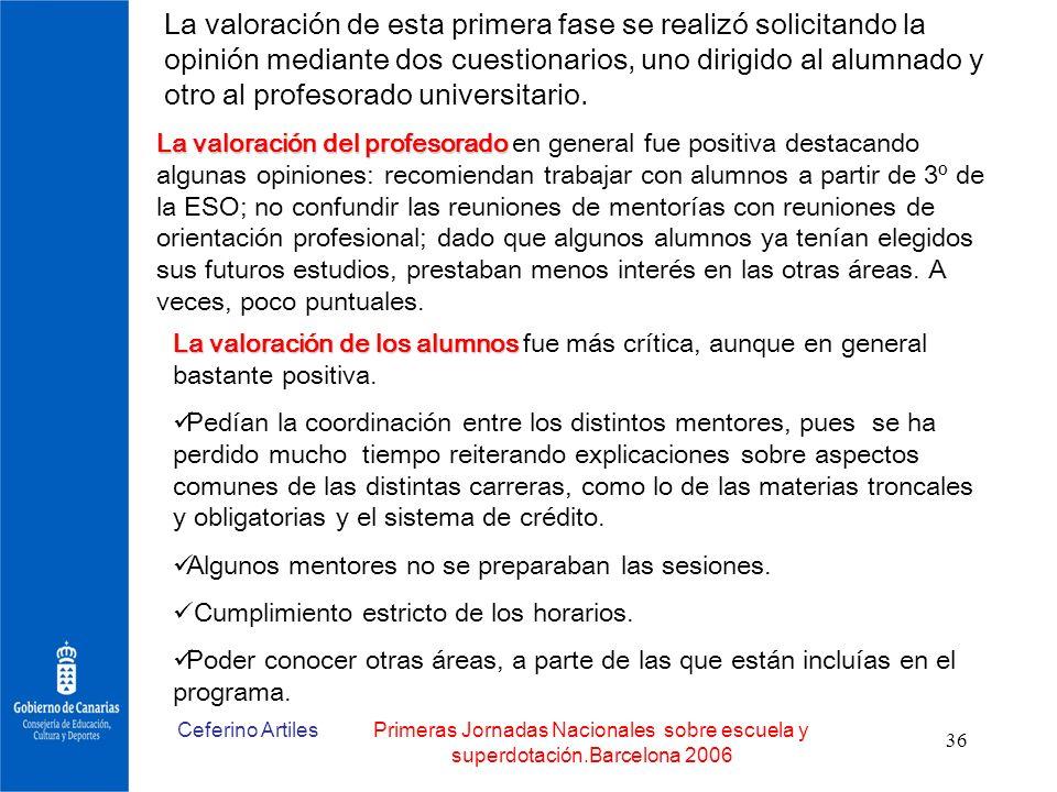 Ceferino ArtilesPrimeras Jornadas Nacionales sobre escuela y superdotación.Barcelona 2006 36 La valoración de esta primera fase se realizó solicitando
