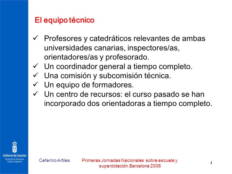 Ceferino ArtilesPrimeras Jornadas Nacionales sobre escuela y superdotación.Barcelona 2006 4 El equipo técnico Profesores y catedráticos relevantes de