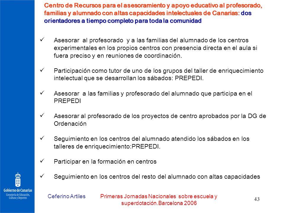 Ceferino ArtilesPrimeras Jornadas Nacionales sobre escuela y superdotación.Barcelona 2006 43 Centro de Recursos para el asesoramiento y apoyo educativ