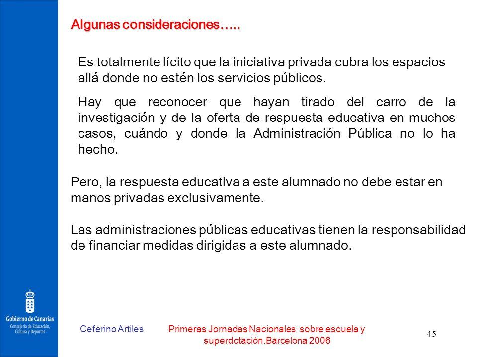 Ceferino ArtilesPrimeras Jornadas Nacionales sobre escuela y superdotación.Barcelona 2006 45 Algunas consideraciones….. Es totalmente lícito que la in