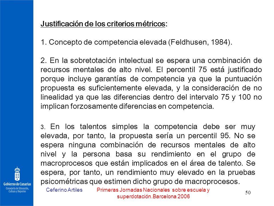 Ceferino ArtilesPrimeras Jornadas Nacionales sobre escuela y superdotación.Barcelona 2006 50 Justificación de los criterios métricos: 1. Concepto de c