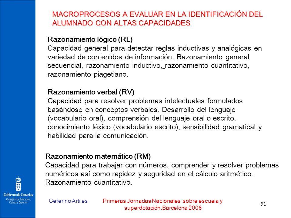 Ceferino ArtilesPrimeras Jornadas Nacionales sobre escuela y superdotación.Barcelona 2006 51 MACROPROCESOS A EVALUAR EN LA IDENTIFICACIÓN DEL ALUMNADO