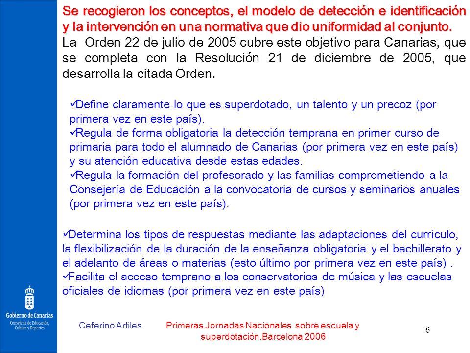 Ceferino ArtilesPrimeras Jornadas Nacionales sobre escuela y superdotación.Barcelona 2006 6 Se recogieron los conceptos, el modelo de detección e iden