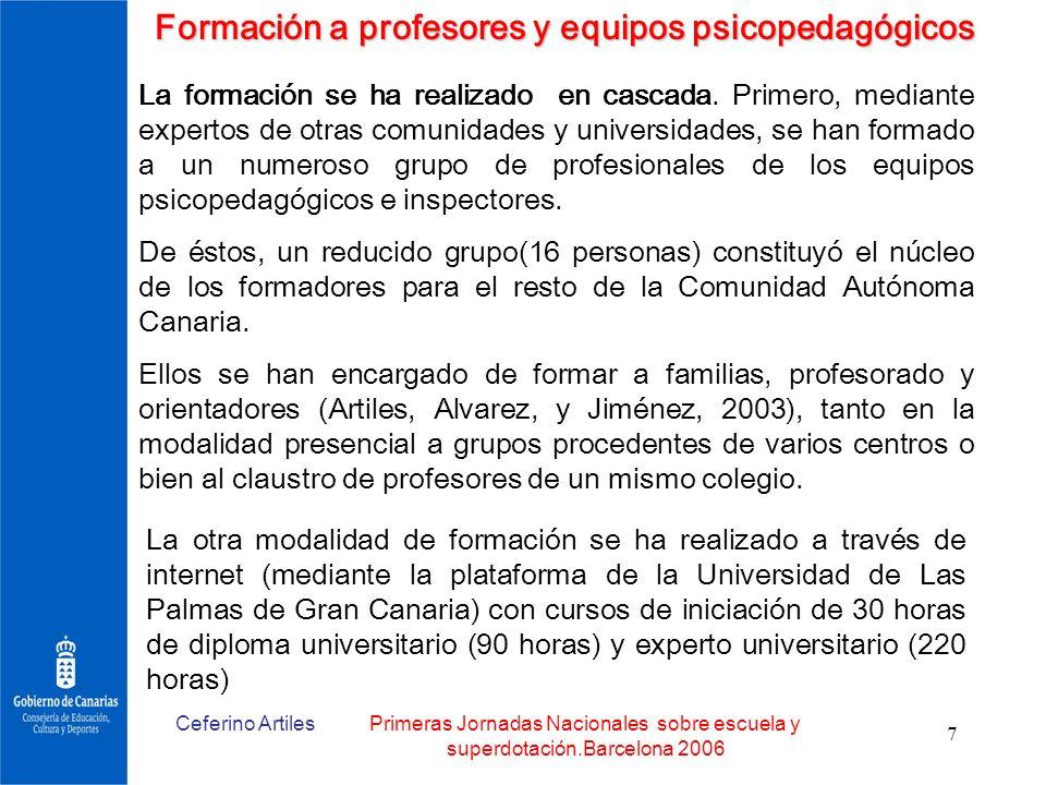 Ceferino ArtilesPrimeras Jornadas Nacionales sobre escuela y superdotación.Barcelona 2006 7 Formación a profesores y equipos psicopedagógicos La forma